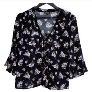 Topshop Floral Tie Front Bell Sleeve Blouse Top